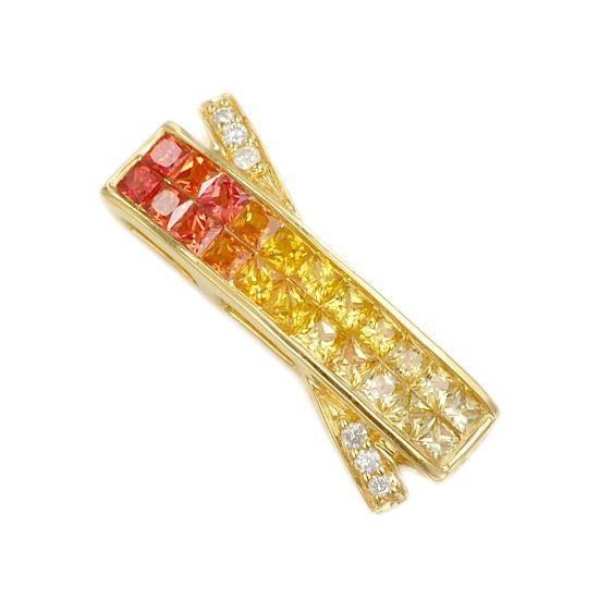 K18 ダイヤモンド計0.04ct サファイア計1.10ct ペンダントトップ/送料無料