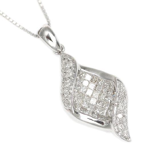 K18WG ダイヤモンド計0.60ct インビジブルセッティングネックレス/送料無料