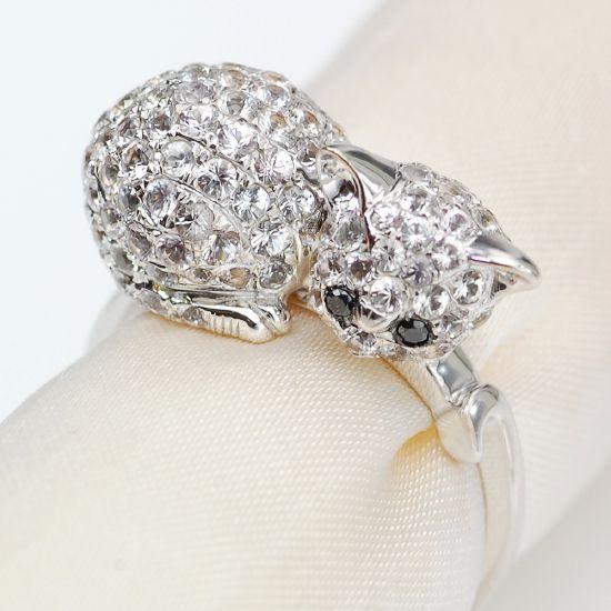 LOVEアニマルジュエリー K18WG ホワイトサファイア ブラックダイヤモンドねこリング/送料無料