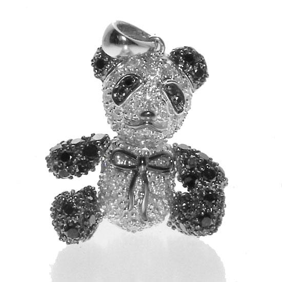 LOVEアニマルジュエリー K18WG ダイヤモンド×ブラックダイヤ パンダペンダントトップ/送料無料