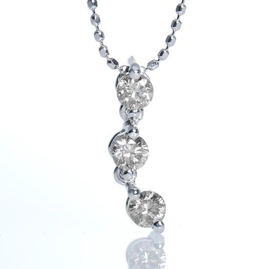 K18WGダイヤモンド計0.31ctトリロジーネックレス スリーストーン /送料無料
