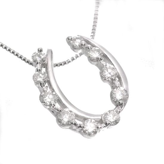 K18WG ダイヤモンド0.3ct 馬蹄ネックレス/送料無料