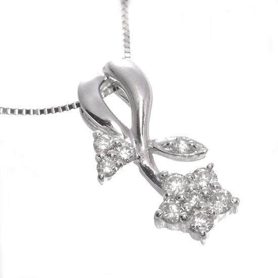 K18WG ダイヤモンド0.3ct スターフラワーネックレス/送料無料