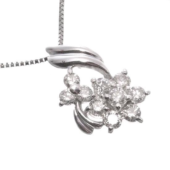 K18WG ダイヤモンド0.5ct ネックレス/送料無料