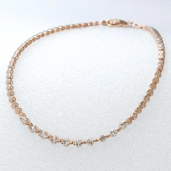 18金ピンクゴールド×ダイヤモンド0.50ct ブレスレット/送料無料