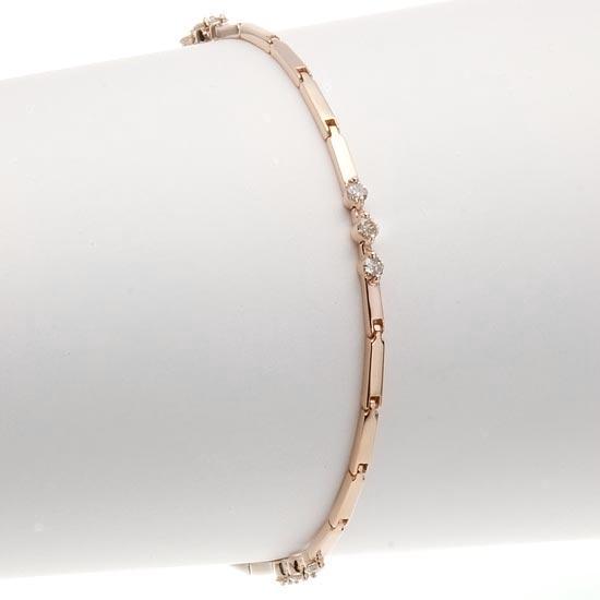 18金ピンクゴールド×ダイヤモンド0.40ct ブレスレット/送料無料