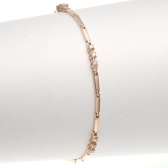 18金ピンクゴールド×ダイヤモンド0.30ct トリロジーブレスレット/送料無料