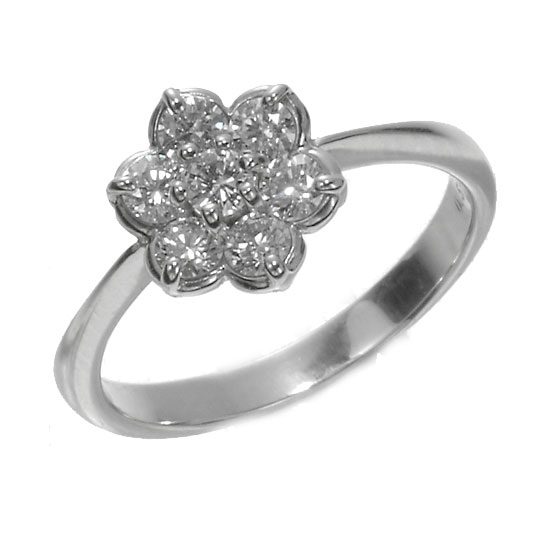 K18WG上質ダイヤモンド0.50ct キュートフラワーリング/送料無料