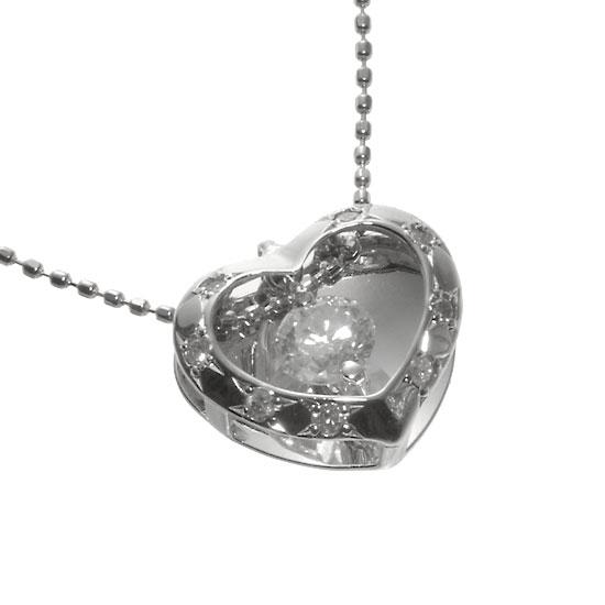 K18WG 揺れるダイヤモンドネックレス ハート /送料無料