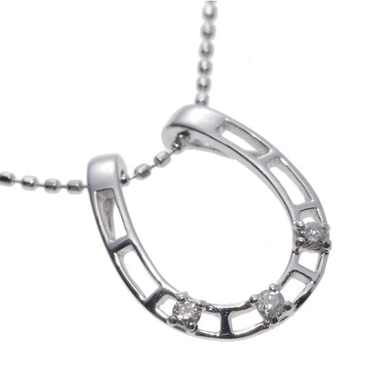 K18WG ダイヤモンド0.03ct 馬蹄ネックレス/送料無料