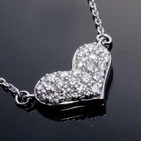K18WG H&Cダイヤモンド計0.50ct ふっくらハートネックレス/送料無料