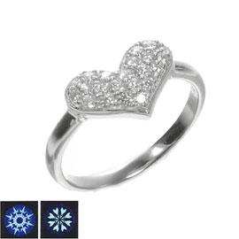 K18WG H&Cダイヤモンド計0.30ct ふっくらハートリング/送料無料