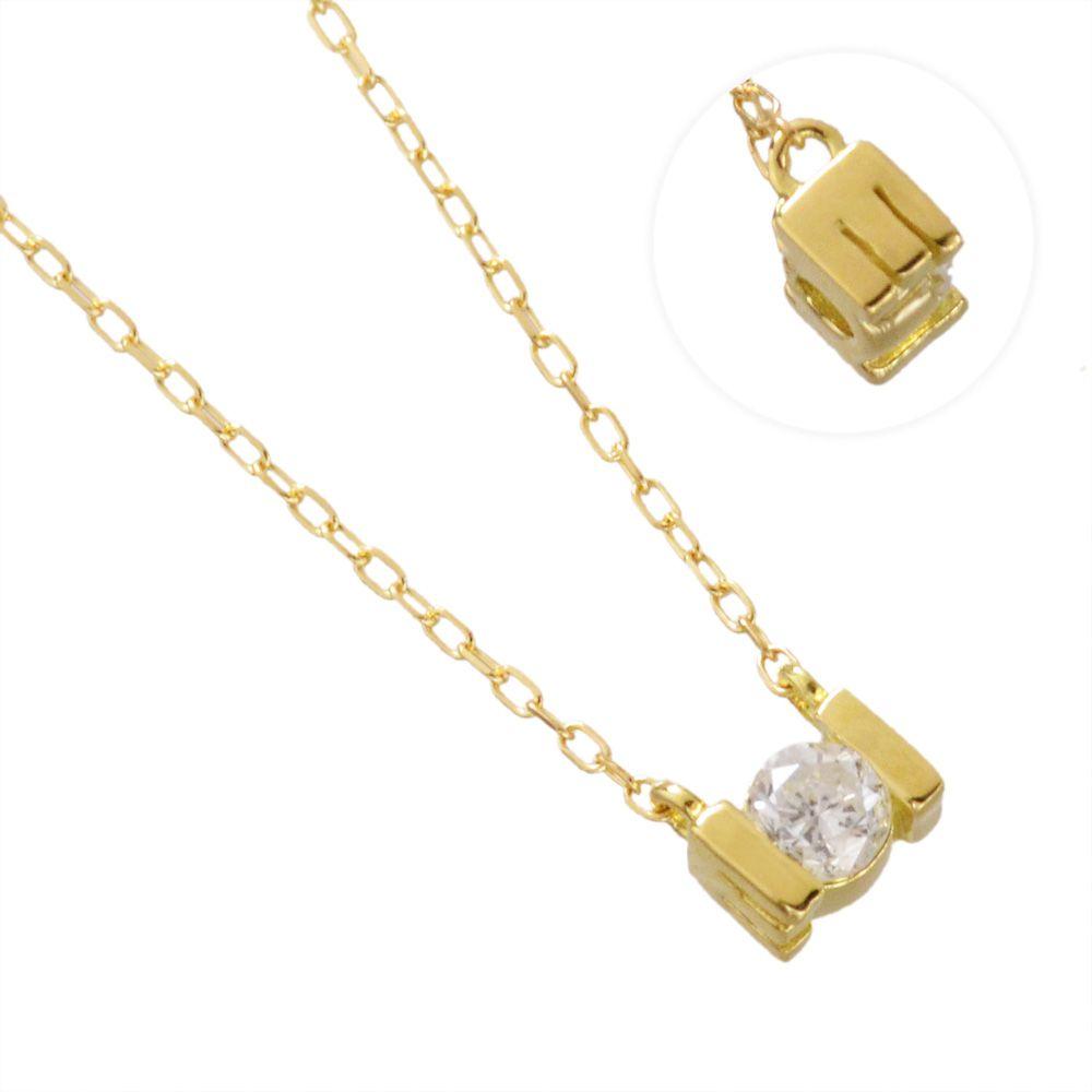 K18YG ダイヤモンド 0.10ct アルファベット ネックレス E/送料無料