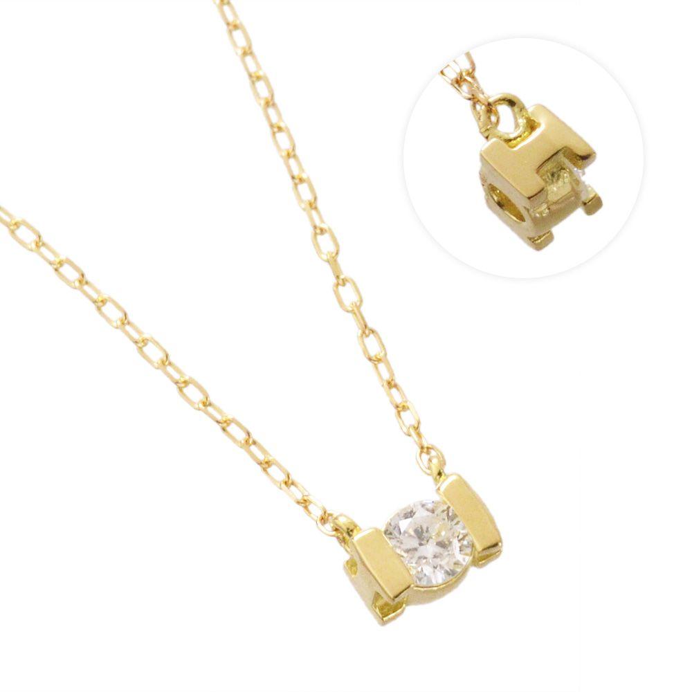 K18YG ダイヤモンド 0.10ct アルファベット ネックレス I/送料無料