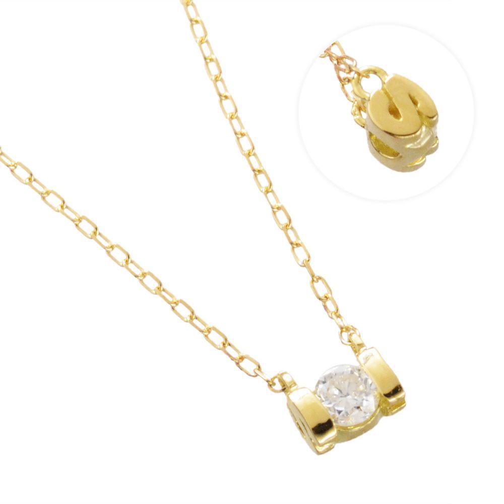 K18YG ダイヤモンド 0.10ct アルファベット ネックレス S/送料無料
