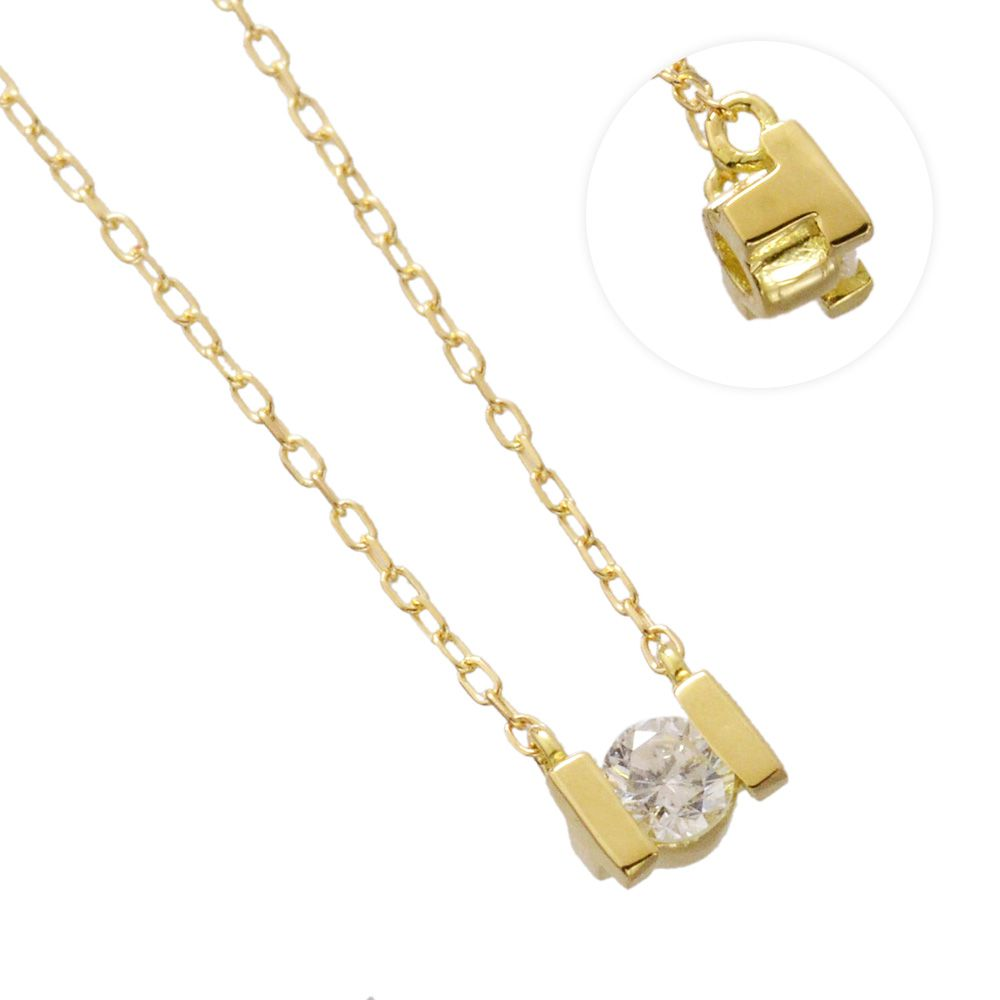 K18YG ダイヤモンド 0.10ct アルファベット ネックレス T/送料無料