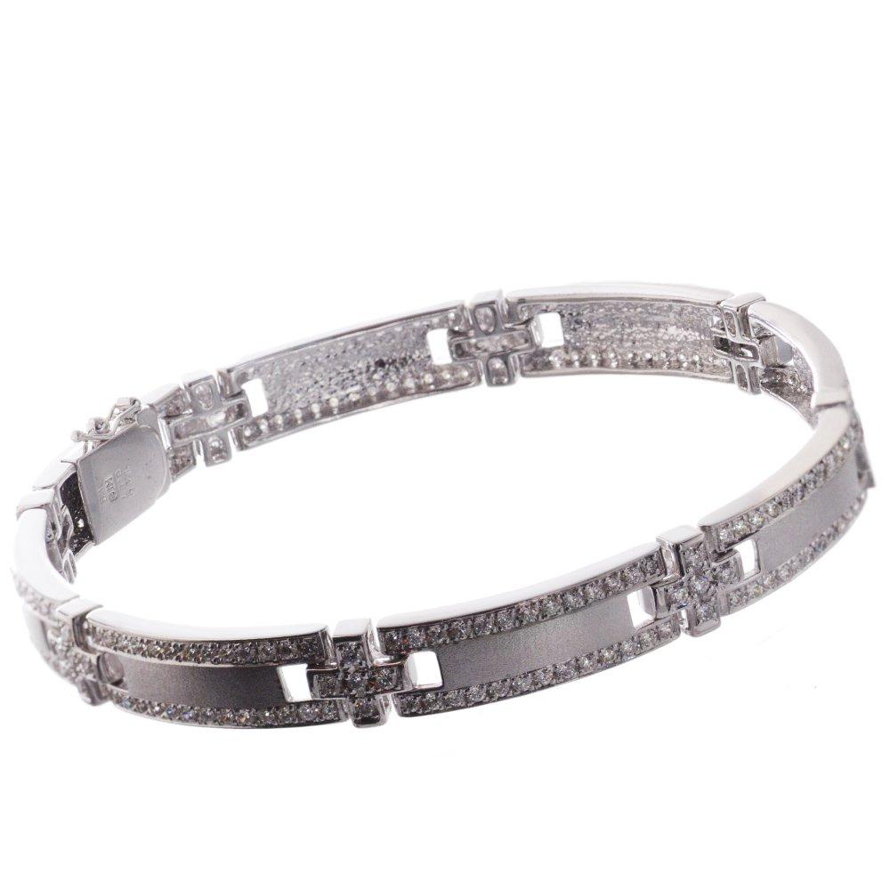 ブレスレット メンズ 18金 ダイヤモンド K18WG クロス 27g 日本製