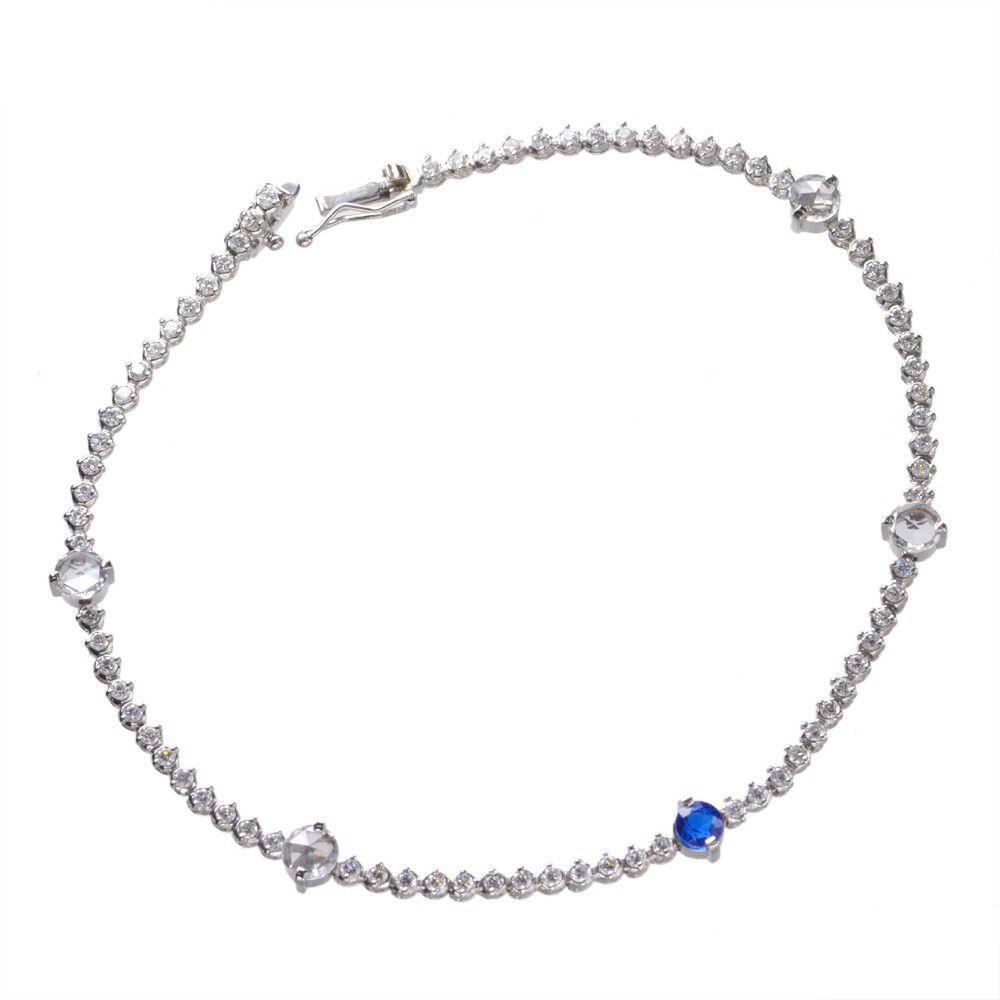 アウイナイト ダイヤモンド ブレスレット ローズカット プラチナ Pt850 鑑別書付き 日本製