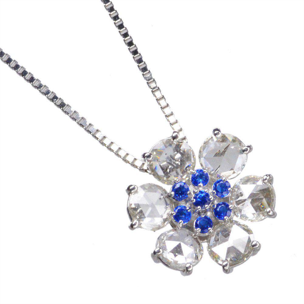 アウイナイト ローズカットダイヤモンド ネックレス プラチナ Pt950 鑑別書付き 日本製