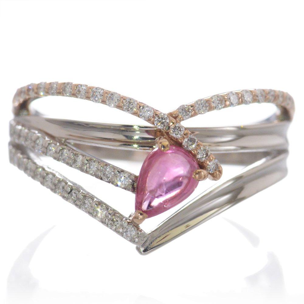 指輪 レディース パパラチアサファイア ダイヤモンド リング プラチナ 18金ピンクゴールド Pt950 K18PG カボションカット