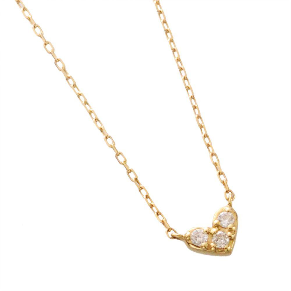 K10 ダイヤモンド ハート ネックレス