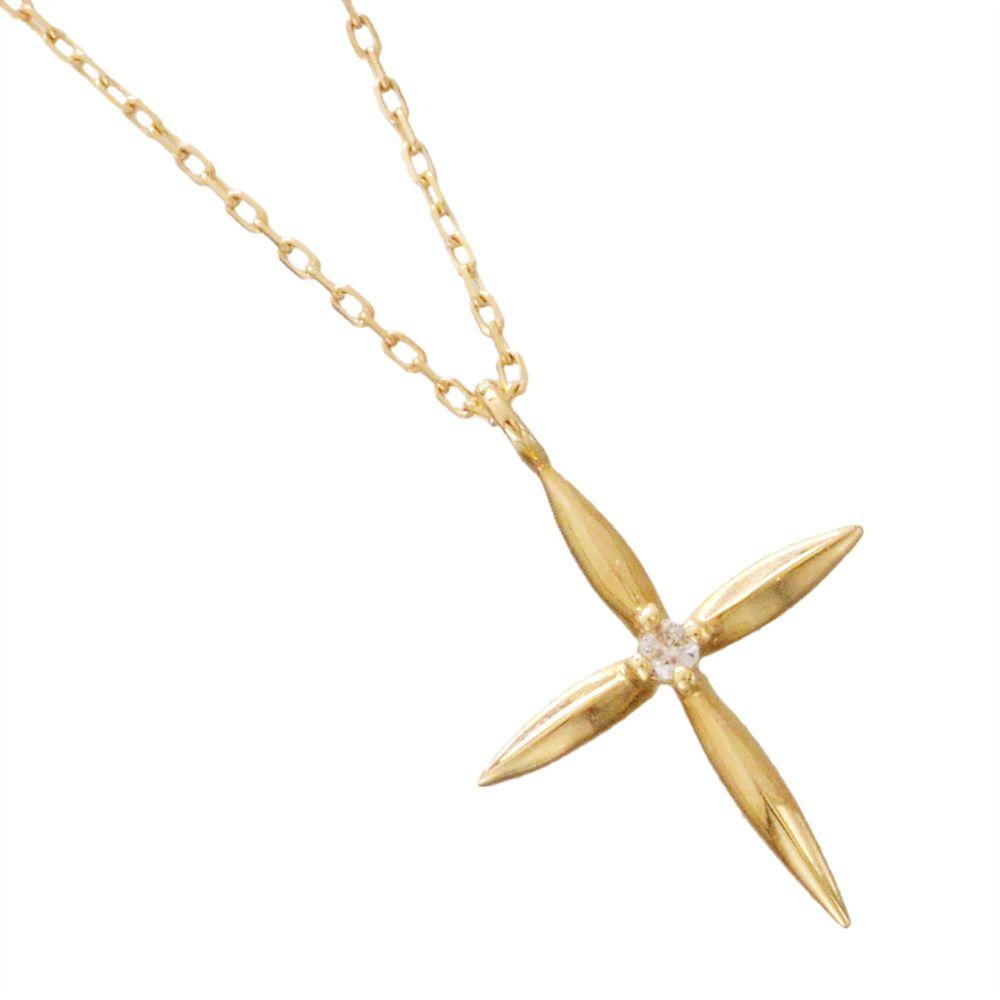K10 ダイヤモンド クロス ネックレス