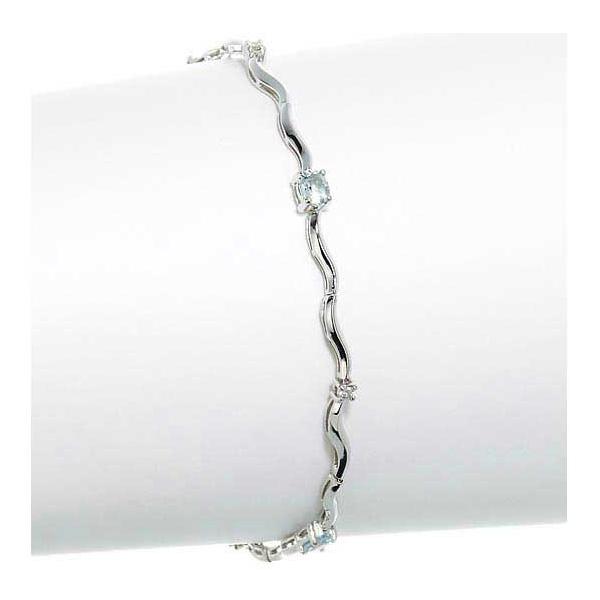 ダーク色の服に映える WG18アクアマリン&ダイヤモンド大粒ブレスレット/送料無料