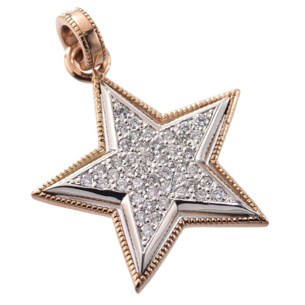 メンズ ペンダントトップ ダイヤモンド プラチナ 18金 Pt850 ピンクゴールド スター 星