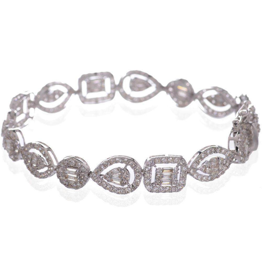 ブレスレット ダイヤモンド 5カラット 18金ホワイトゴールド K18WG