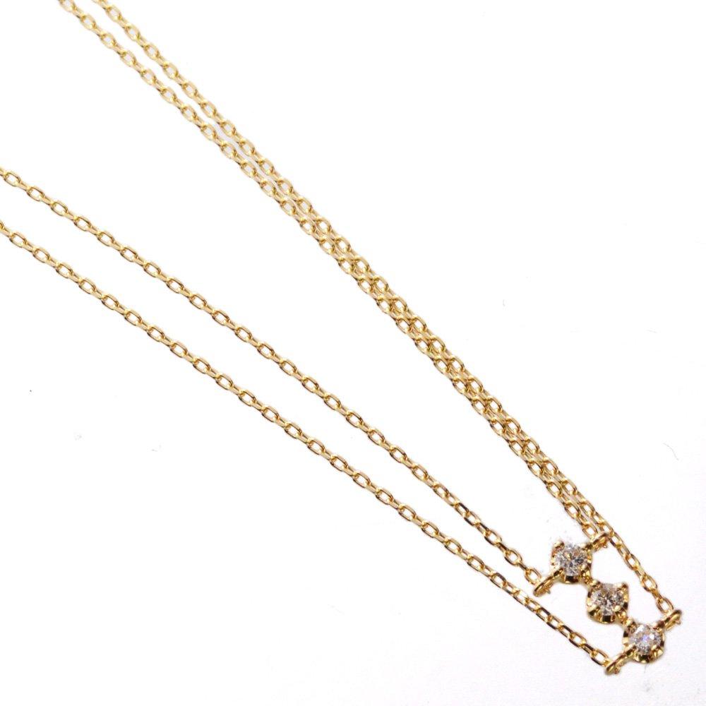ダイヤモンド チェーン ネックレス K18 18金 イエローゴールド
