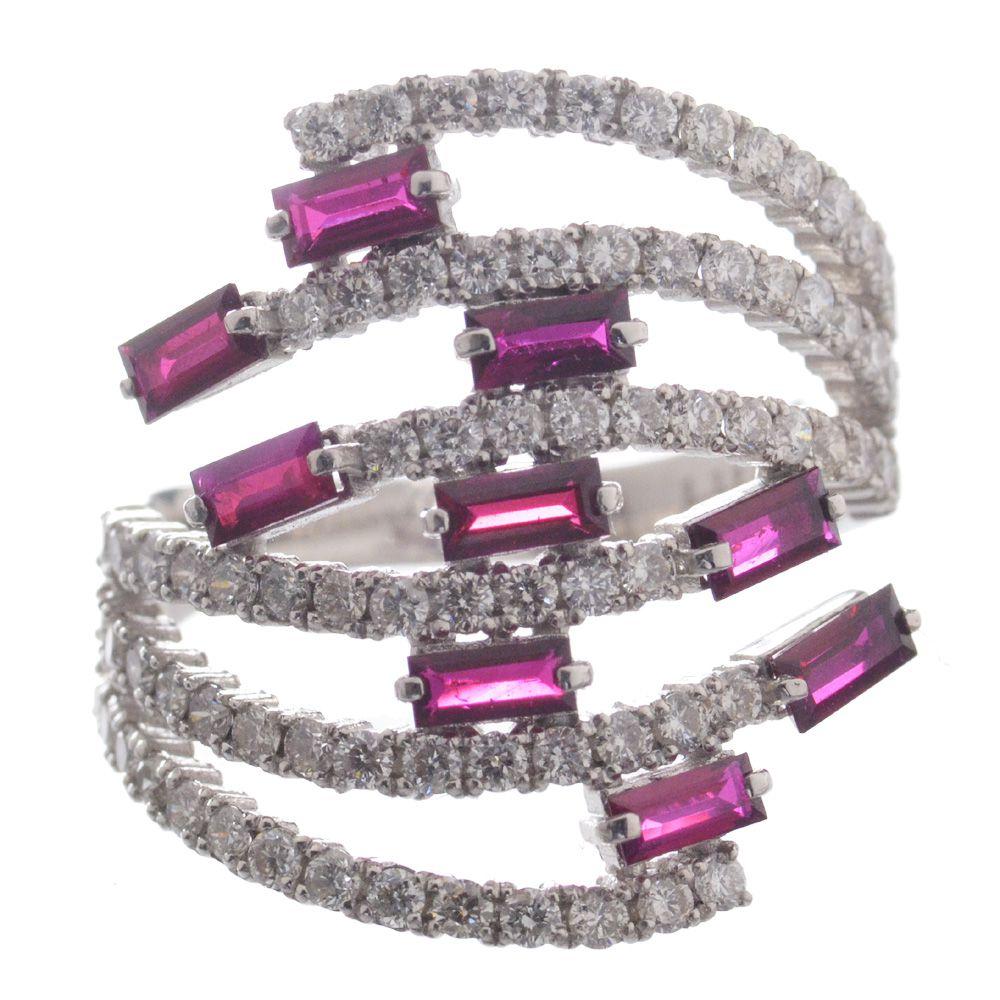 指輪 レディース バゲットカット ルビー ダイヤモンド リング 指輪 Pt950 プラチナ