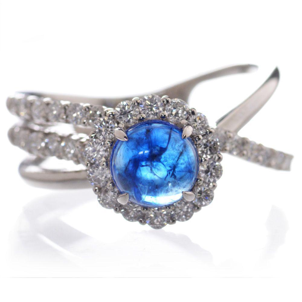 指輪 レディース アウイナイト ダイヤモンド リング プラチナ カボション Pt950 12号 鑑別書付き 日本製 現品限り