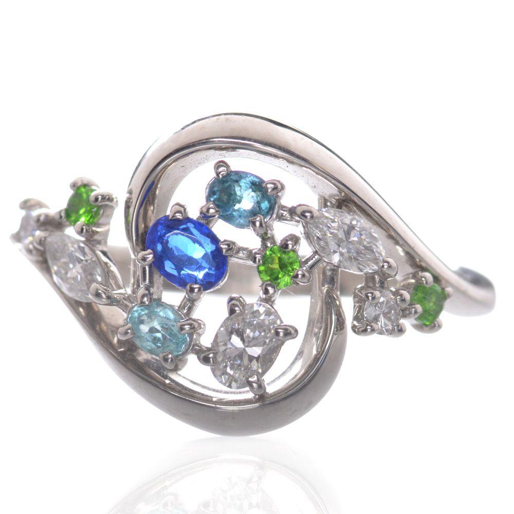 指輪 レディース パライバトルマリン デマントイドガーネット アウイナイト ダイヤモンド リング プラチナ Pt950 日本製