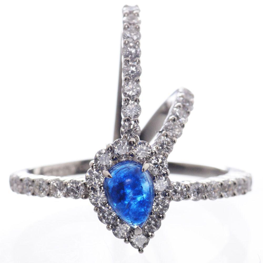 指輪 レディース アウイナイト ダイヤモンド リング プラチナ Pt950 カボション 14号 鑑別書付き 日本製 現品限り