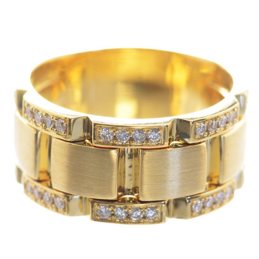 メンズリング 18金 K18 イエローゴールド ダイヤモンド 幅広 指輪 男性用
