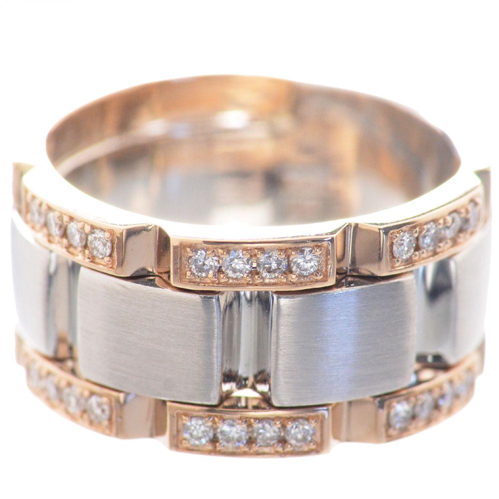 メンズリング プラチナ 18金ピンクゴールド Pt950 K18PG ダイヤモンド 幅広 指輪 男性用