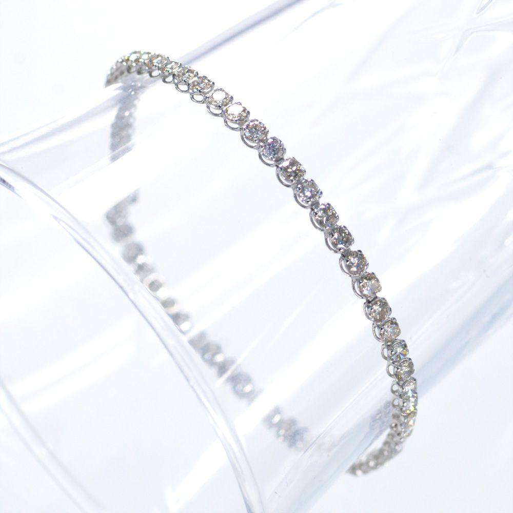 即納 ダイヤモンド テニスブレスレット 3カラット プラチナ Pt850 4本爪 現品特価