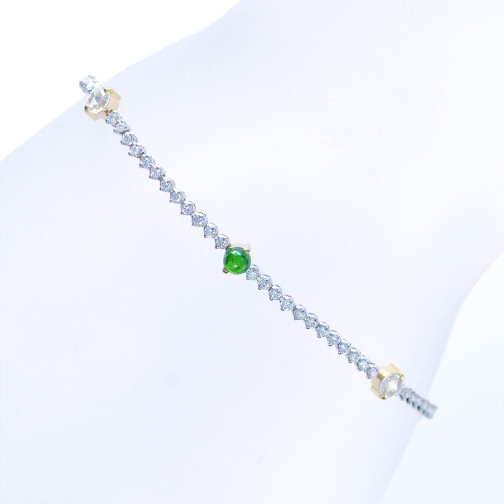 デマントイドガーネット ダイヤモンド ブレスレット K18 18金イエローゴールド Pt850 プラチナ 鑑別書付き 日本製