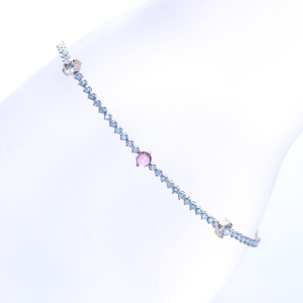 パパラチアサファイア ダイヤモンド ブレスレット K18PG 18金ピンクゴールド Pt850 プラチナ 鑑別書付き 日本製
