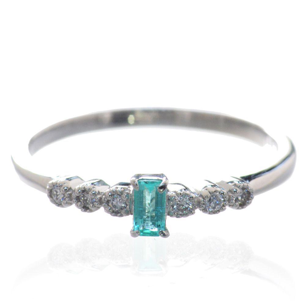 指輪 レディース パライバトルマリン ダイヤモンド リング Pt900 プラチナ 鑑別書付き 日本製