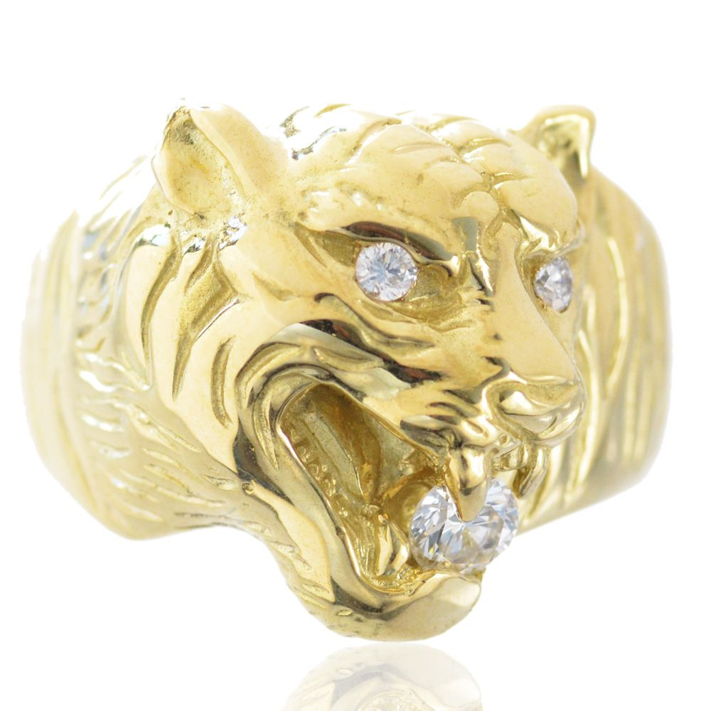 指輪 メンズ 18金 虎 リング ダイヤモンド タイガー 33g