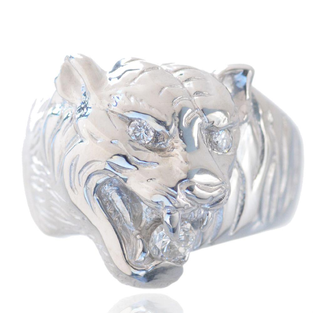 指輪 メンズ プラチナ リング 虎 ダイヤモンド タイガー 43g