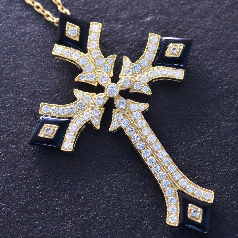 撮影サンプル品あり メンズネックレス 18金 K18 クロス イエローゴールド ダイヤモンド オニキス 十字架 日本製 鑑別書付き