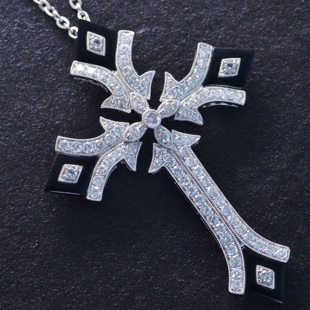 撮影サンプル品あり メンズネックレス 18金 K18WG クロス ホワイトゴールド ダイヤモンド オニキス 十字架 日本製 鑑別書付き