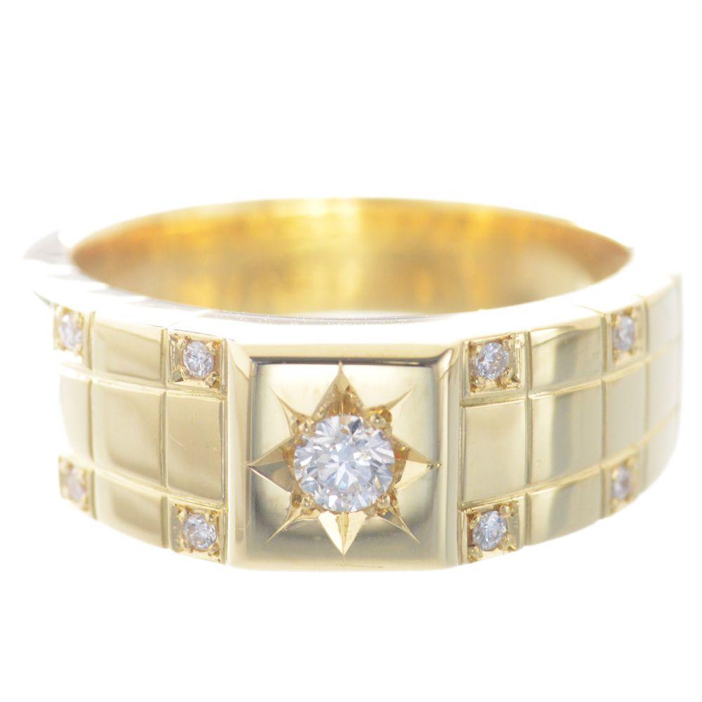 指輪 メンズ 18金 イエローゴールド ダイヤモンド リング 印台 後光留め