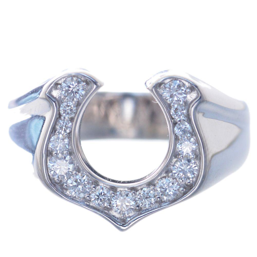 指輪 メンズ 18金 ホワイトゴールド ダイヤモンド リング 馬蹄