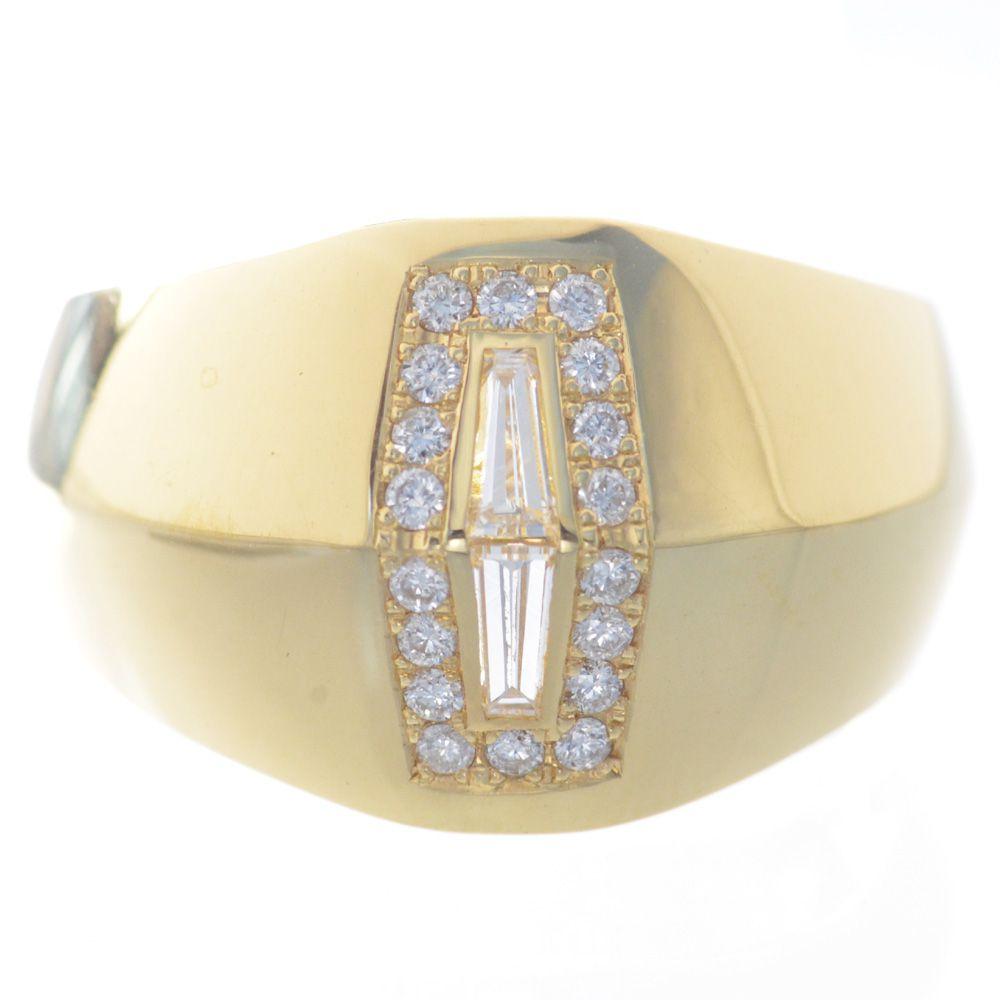 指輪 メンズ 18金 イエローゴールド ダイヤモンド リング