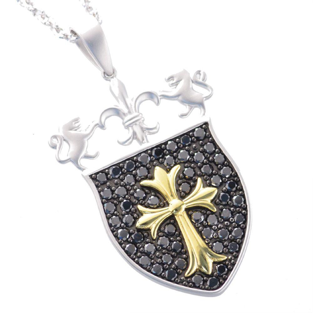 メンズネックレス プラチナ 18金 K18 イエローゴールド ブラックダイヤモンド クロス