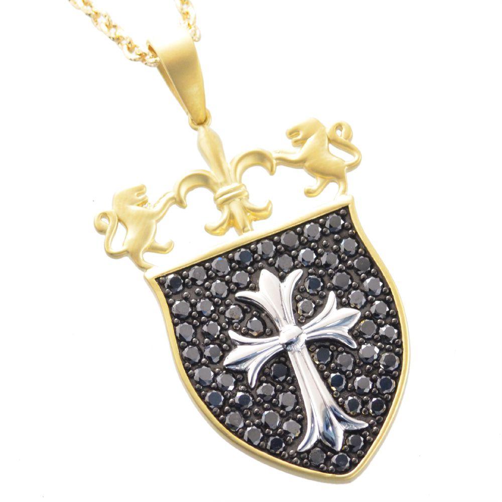 メンズネックレス 18金 K18 イエローゴールド プラチナ ブラックダイヤモンド クロス