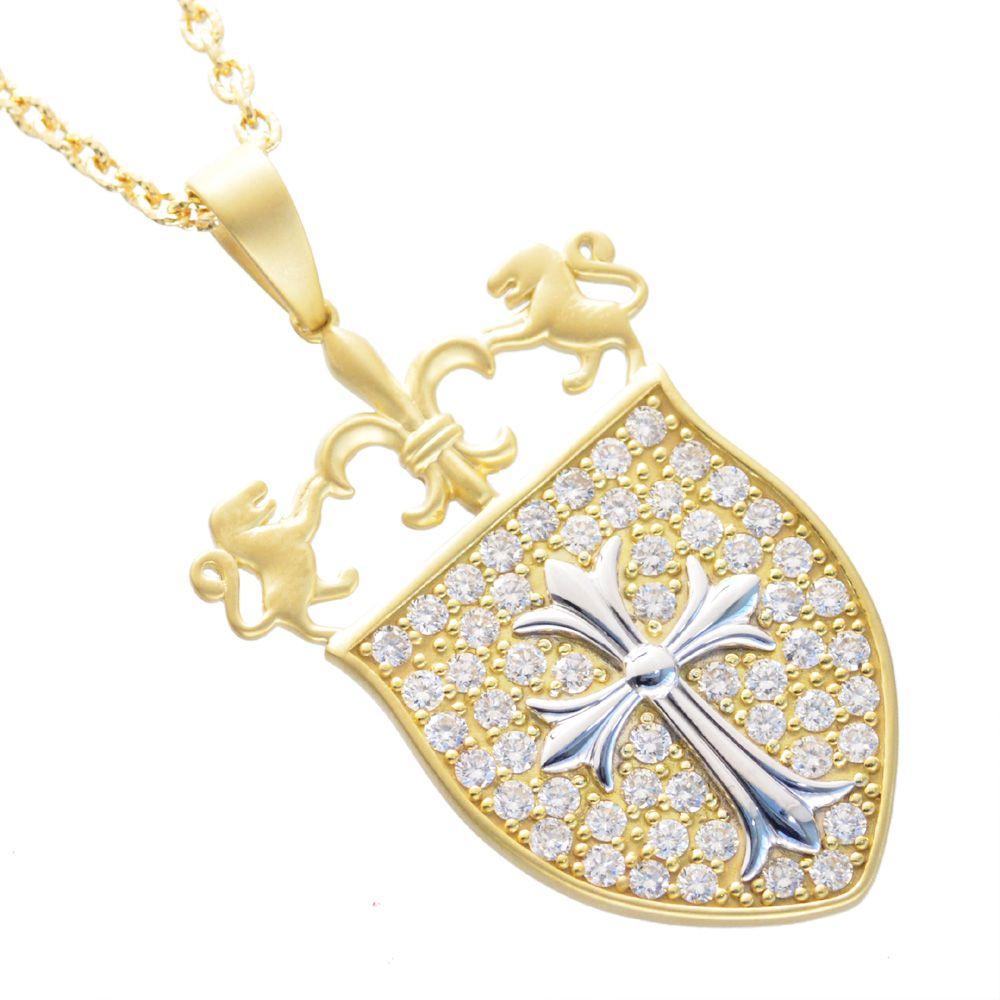 メンズネックレス 18金 プラチナ K18 イエローゴールド ダイヤモンド クロス